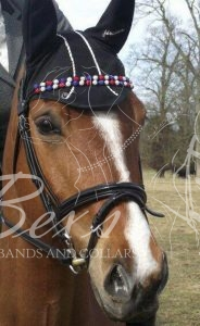 Double Row Shamballa Browband: White/Clear, Sapphire and Red