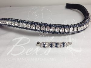 "Curved 1/2"" Preciosa Crystal Browband: Clear (Silver casing) 6mm, and Montana 3mm. Shown here with a matching stock pin"