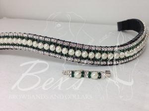 "Curved 3/4"" Preciosa Crystal Browband: Pearl (Silver casing) 6mm, Emerald 3mm and Clear (Silver casing) 3mm. Shown here with a matching stock pin and earrings"