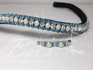 """Straight 1/2"""" Preciosa Crystal Browband: Clear/Pearl (Silver casing) 6mm, and Aquamarine 3mm. Shown here with a matching stock pin."""