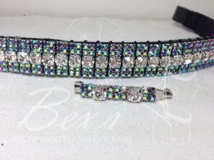 "Curved 3/4"" Preciosa Crystal Browband: Clear (Silver casing) 6mm, Amethyst AB 3mm and Amethyst AB 3mm. Shown here with a matching stock pin."