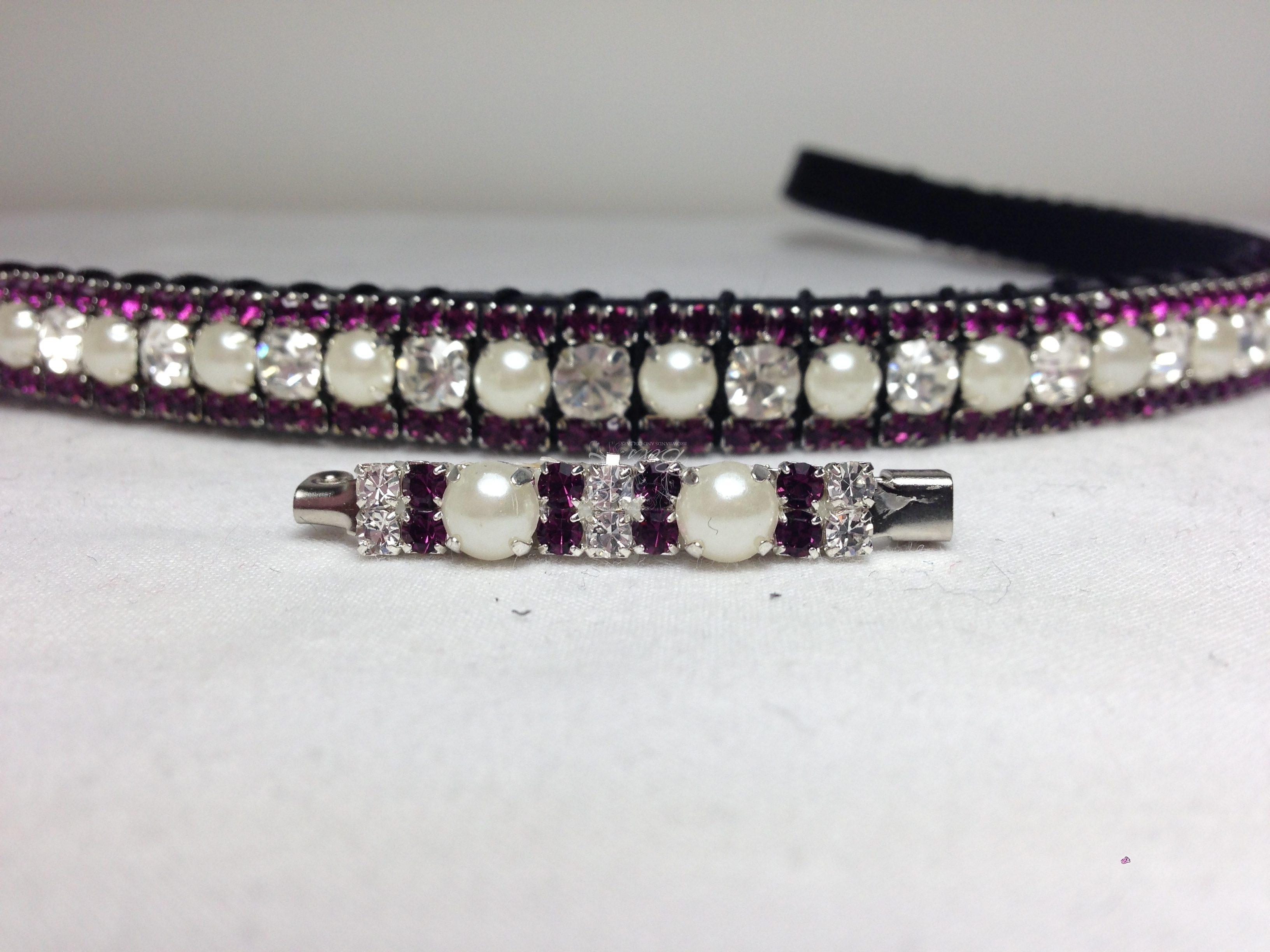 "Straight 1/2"" Preciosa Crystal Browband: Clear/Pearl (Silver casing) 6mm, and Amethyst 3mm. Shown here with a matching stock pin."