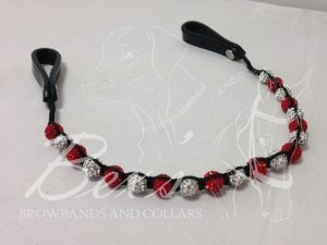 Single Row Shamballa Browband: Red and White/Silver