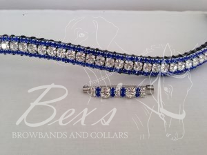 "Curved 1/2"" Preciosa Crystal Browband: Clear (Silver casing) 6mm, and Sapphire 3mm. Shown here with a matching stock pin"