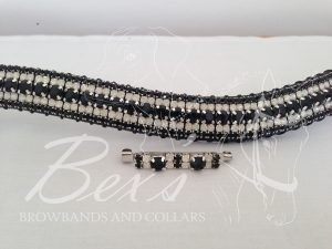 """Curved 3/4"""" Preciosa Crystal Browband: Jet 6mm, Opal 3mm and Jet 3mm. Shown here with a matching stock pin."""