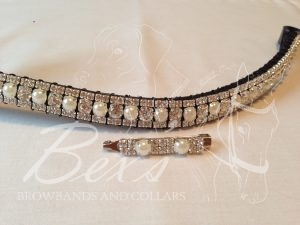 "Curved 1/2"" Preciosa Crystal Browband: Clear/Pearl (Silver casing) 6mm, and Clear (Silver casing) 3mm. Shown here with a matching stock pin."