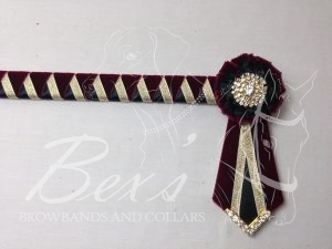"""3/4"""" Ribbon Show Browband: Bordeaux velvet, Gold metallic lame and Black satin wide double shark tooth. Pleated rosettes with plain Gold crystal centre. V Shaped tails with Gold crystal flag tips."""