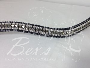 """Curved 3/4"""" Preciosa Crystal Browband: Black Diamond 6mm, Clear (Silver casing) 3mm and Jet 3mm."""