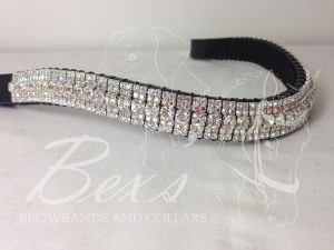 "Curved 3/4"" Preciosa Crystal Browband: Clear (Silver casing) 6mm, Crystal AB 3mm and Clear (Silver casing) 3mm."