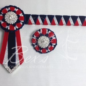 "3/4"" Ribbon Show Browband: Navy velvet, Silver metallic lame and Red velvet wide double shark tooth. Combination rosettes with plain Silver crystal centre. V Shaped tails with Silver crystal flag tips. Shown here with a matching buttonhole."