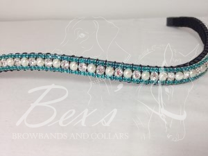 "Curved 1/2"" Preciosa Crystal Browband: Clear/Pearl (Silver casing) 6mm, and Aquamarine 3mm."