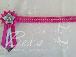 "3/4"" Crystal Show Browband: Garden Rose satin background, 1 row of Silver crystal chain woven on with Garden Rose satin. Star shaped rosettes with flower centre. V shaped tails with Silver patterned flag tips"