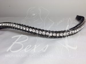 """Curved 1/2"""" Preciosa Crystal Browband: Clear (Silver casing) 6mm, and Amethyst 3mm."""