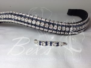 """Curved 3/4"""" Preciosa Crystal Browband: Clear (Silver casing) 6mm, Montana 3mm and Clear (Silver casing) 3mm. Shown here with a matching stock pin."""