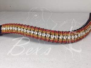 """Curved 3/4"""" Preciosa Crystal Browband: Clear (Gold casing) 6mm, Topaz 3mm and Light Siam 3mm."""