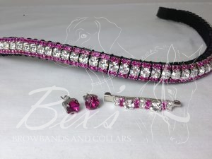 "Curved 1/2"" Preciosa Crystal Browband: Clear (Silver casing) 6mm, and Fuchsia 3mm.  Shown with a matching stock pin and earrings."