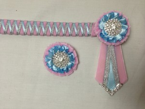 Ribbon Show Browband - Baby Pink, Light Blue and Silver Narrow Shark Tooth Zig Zag
