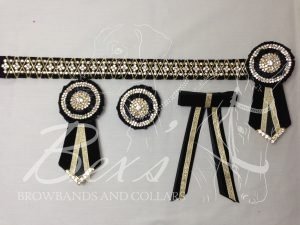 "1"" Crystal Show Browband: Black velvet background, Gold diamond crystal chain woven on with Gold cord. Pleated rosettes with plain Gold double row crystal rings and centres. V shaped tails with Gold crystal flag tips. Shown here with removable rosettes, matching buttonhole and single large hair bow."