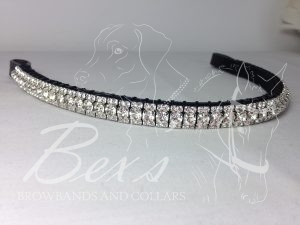 "Straight 1/2"" Preciosa Crystal Browband: Clear (Silver casing) 6mm, and Clear (Silver casing) 3mm."
