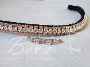 "Straight 1/2"" Preciosa Crystal Browband: Clear (Silver casing) 6mm, and Light Rose 3mm. Shown here with a matching stock pin."