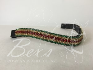 "Curved 3/4"" Preciosa Crystal Browband: Siam 6mm, Topaz 3mm and Emerald 3mm."