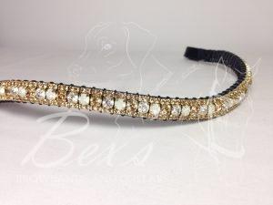 "Curved 1/2"" Preciosa Crystal Browband: Opal/Pearl/Light Colorado Topaz 6mm, and Light Colorado Topaz 3mm."