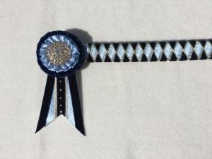 Ribbon Show Browband - Navy, Cornflower Polka Dot and Gold Wide Diamond Outline