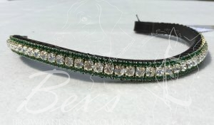 "Curved 1/2"" Preciosa Crystal Browband: Clear (Gold casing) 6mm and Emerald 3mm."