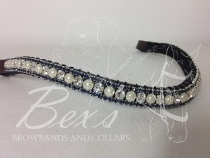 "Curved 1/2"" Preciosa Crystal Browband: Clear/Pearl (Silver casing) 6mm and Montana 3mm."