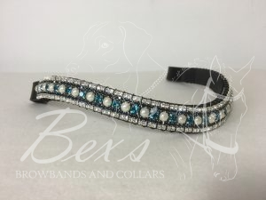 "Curved 3/4"" Preciosa Crystal Browband: Indicolite/Pearl 6mm, Montana 3mm and Clear (Silver casing) 3mm."