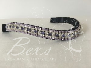 """Curved 3/4"""" Preciosa Crystal Browband: Deep Tanzanite/Clear 6mm, Clear (Silver casing) 3mm and Deep Tanzanite 3mm."""