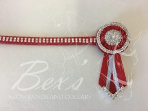 "1/2"" Crystal Show Browband: Red satin background with 2 rows of Silver crystal chain woven on with Red satin. Pleated rosettes with plain Silver double row crystal rings and centres. V shaped rosette tails with Silver crystal flag tips."