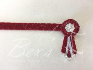"3/4"" Ribbon Show Browband: Scarlet velvet wide shark tooth. Pleated rosettes with Silver crystal centres. V shaped rosette tails with Silver crystal flag tips."