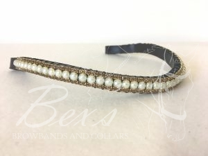 "Curved 1/2"" Preciosa Crystal Browband: Pearl (Gold casing) 6mm and Smoked Topaz 3mm."