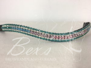 "Curved 3/4"" Preciosa Crystal Browband: Blues/Purple/Pink Gradient 6mm, Crystal AB 3mm and Blue Zircon 3mm."
