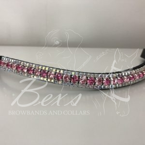 Light Rose/Rose 6mm and Crystal AB 3mm. Curved shape