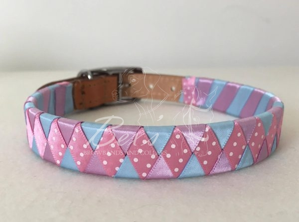 Pink/White Polka Dot satin and Light Blue and Light Orchid satin wide diamond