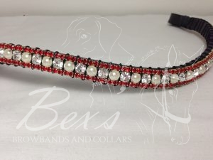 "Curved 1/2"" Preciosa Crystal Browband: Clear/Pearl (Silver casing) 6mm, and Light Siam 3mm."