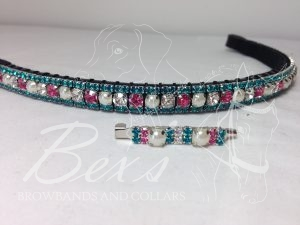 "Straight 1/2"" Preciosa Crystal Browband: Clear/Rose/Pearl (Silver casing) 6mm, and Blue Zircon 3mm. Shown here with a matching stock pin"