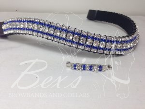 "Curved 3/4"" Preciosa Crystal Browband: Clear (Silver casing) 6mm, Sapphire 3mm and Clear (Silver casing) 3mm. Shown here with a matching stock pin."