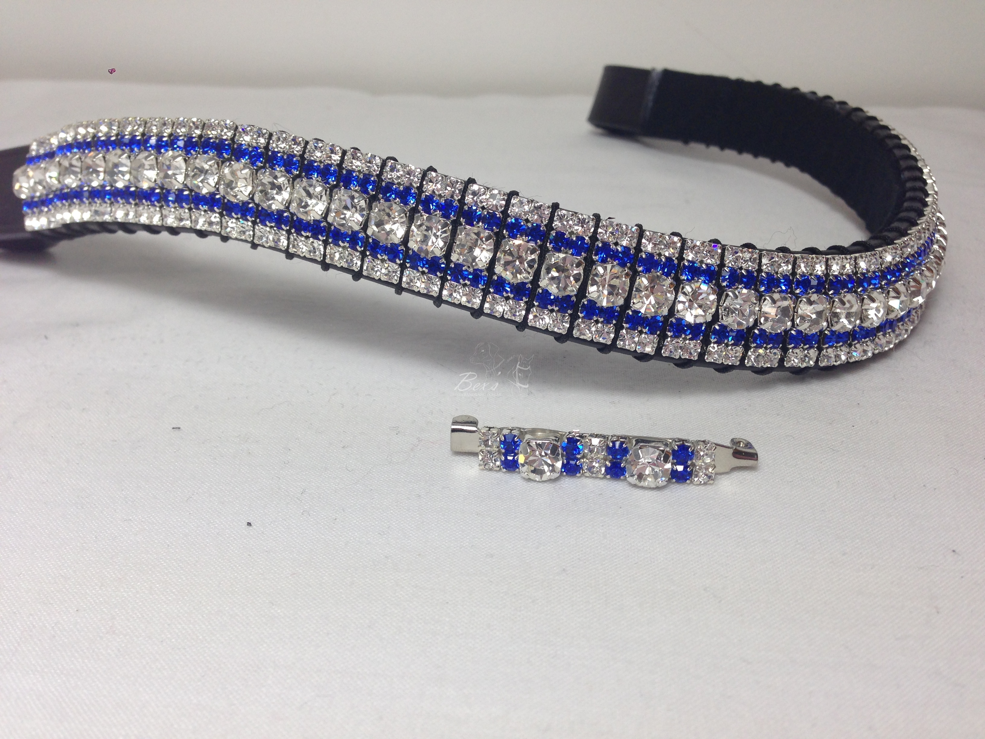 browbands curved img clear crystal preciosa s and sapphire product silver browband casing bex