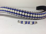 "Curved 3/4"" Preciosa Crystal Browband: Pearl (Silver casing) 6mm, Sapphire 3mm and Clear (Silver casing) 3mm. Shown here with a matching stock pin."