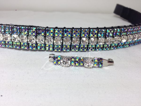 """Curved 3/4"""" Preciosa Crystal Browband: Clear (Silver casing) 6mm, Amethyst AB 3mm and Amethyst AB 3mm. Shown here with a matching stock pin."""