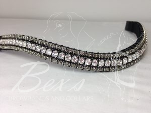 "Curved 3/4"" Preciosa Crystal Browband: Clear (Silver casing) 6mm, Jet 3mm and Black Diamond 3mm."