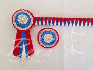 "3/4"" Ribbon Show Browband: Red velvet, Royal and White satin narrow double shark tooth. Pleated rosettes with plain Silver double row crystal rings and plain centre. V shaped rosette tails with Silver crystal flag tips. Shown here with a matching buttonhole."