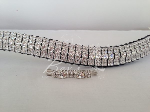 "Curved 3/4"" Preciosa Crystal browband. All Clear (Silver casing) Shown here with a matching stock pin."