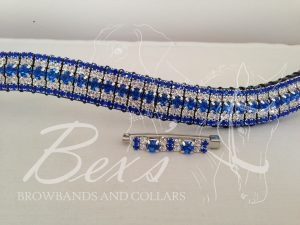 "Curved 3/4"" Preciosa Crystal Browband: Sapphire 6mm, Clear (Silver casing) 3mm and Sapphire 3mm. Shown here with a matching stock pin."