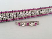 "Curved 3/4"" Preciosa Crystal Browband: Clear (Silver casing) 6mm, Opal 3mm and Fuchsia 3mm. Shown here with a matching stock pin."