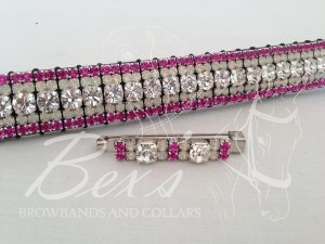 """Curved 3/4"""" Preciosa Crystal Browband: Clear (Silver casing) 6mm, Opal 3mm and Fuchsia 3mm. Shown here with a matching stock pin."""