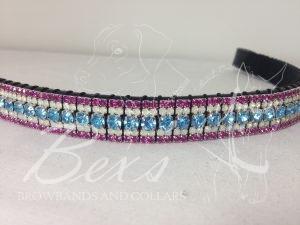 "Curved 3/4"" Preciosa Crystal Browband: Aqua Bohemica 6mm, Opal 3mm and Fuchsia 3mm."